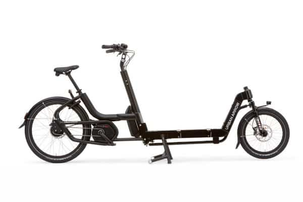 Urban Arrow flatbed Large cargo bike in black side view
