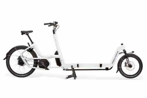 Urban Arrow flatbed XL cargo bike in white side view