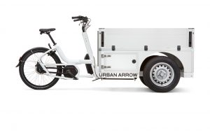 Urban Arrow Tender Pickup Cargo Courier Delivery Bike in White side view
