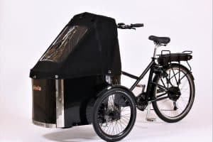 nihola cargo bike shown with black canopy fitted
