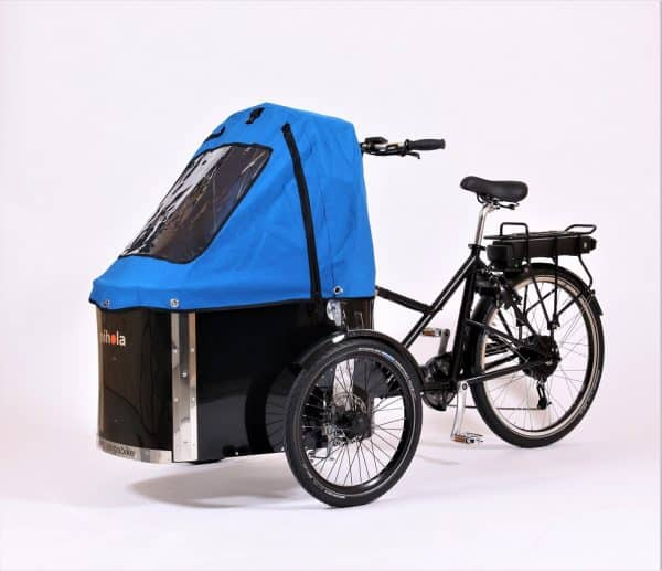 nihola cargo bike shown with blue canopy fitted