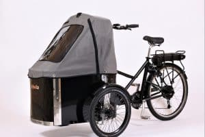 nihola cargo bike shown with charcoal grey canopy fitted