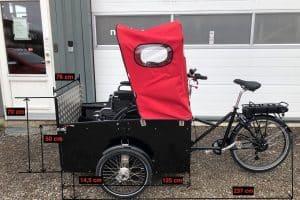 Nihola Flex disabled bike dimensions shown on image