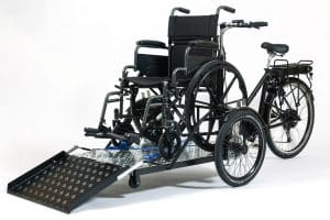 Nihola Flex disabled bike shown with wheelchair loaded
