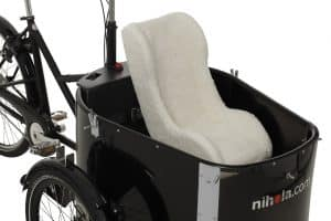 Nihola Rehab cargo bike shown with toddler seat fitted