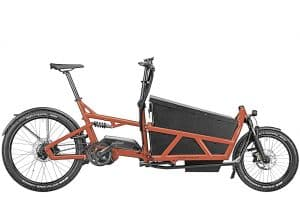 Riese and Muller Load 60 Electric Cargo Bike with orange frame side view