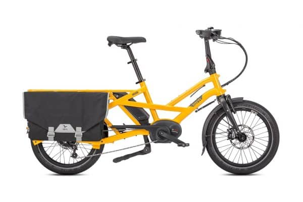 Tern GSD S00 Electric Bike Folding Bike in yellow with Bosch dual-battery system side view