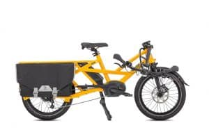 Tern GSD S00 Folding Electric Bike in yellow with Bosch dual-battery system folded view