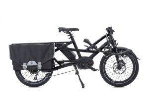 Tern GSD folding bike electric bike in black shown with handlebars folded