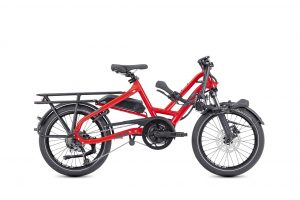 Tern HSD p9 Folding Bike in Red shown with handlebars folded