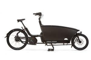 urban arrow family cargo bike shown in black