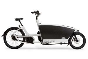 urban arrow family cargo bike shown in white