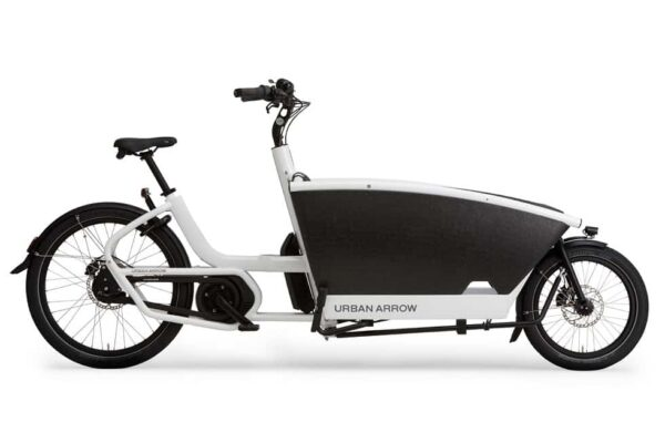 urban arrow family cargo bike shown in white