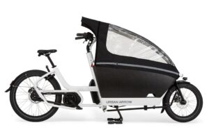 urban arrow cargo bike shown with rain cover
