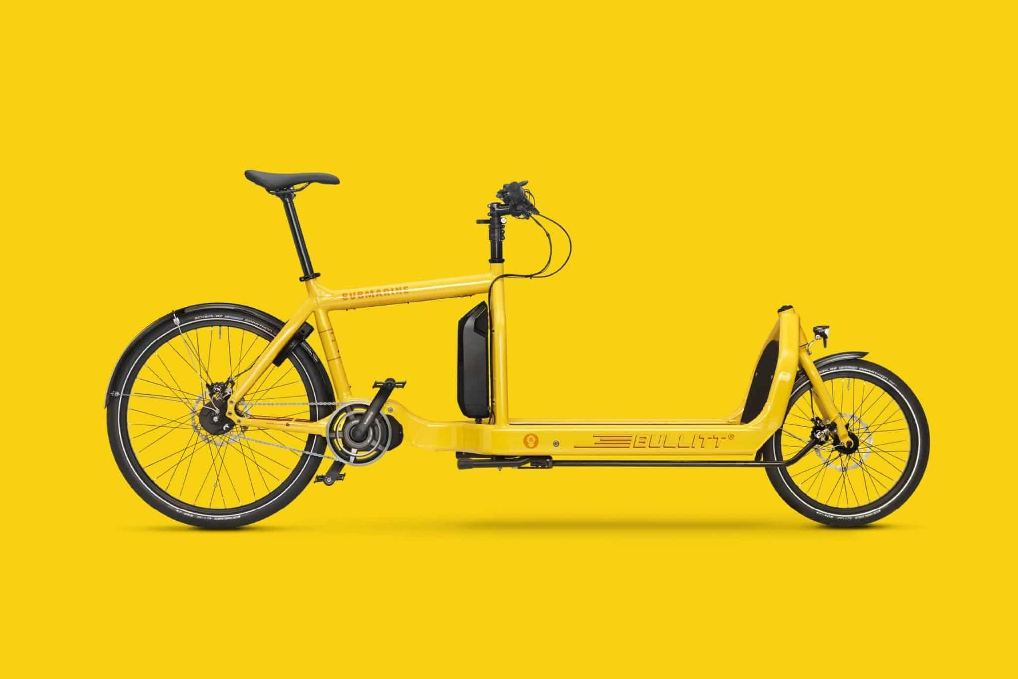 Bullitt electric cargo bike in yellow