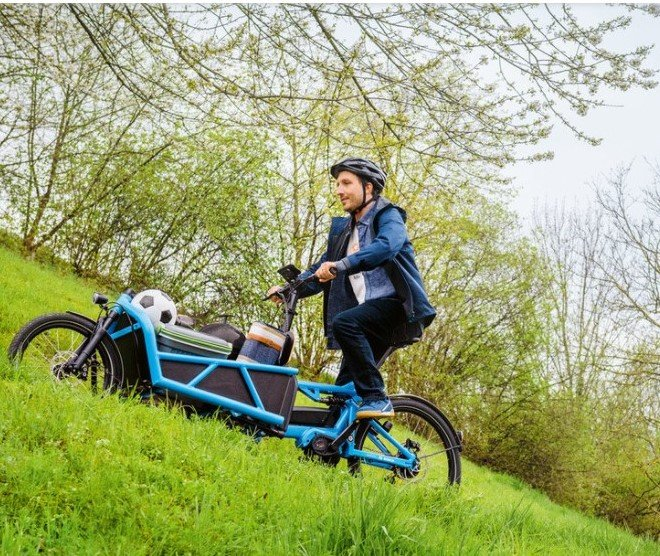 Riese and Muller Bosch Dutch cargo Bike going uphill with ease